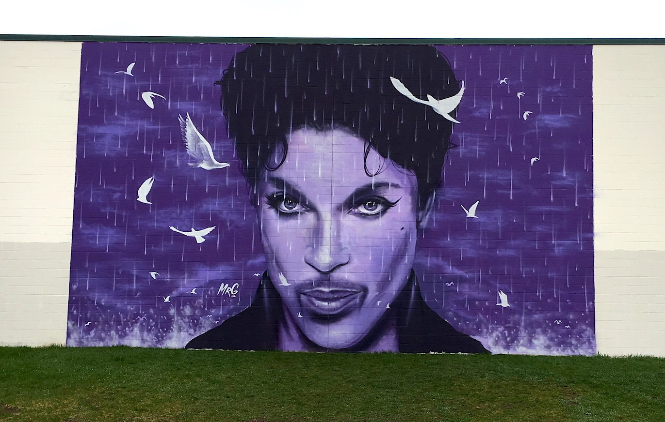 Graham Hoete's Prince mural on the wall of the Chanhassen Cinema